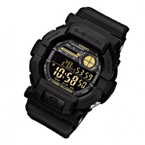 GD-350-1BER Casio Watch G Shock Men's Black Rubber Strap Digital With Gold Coloured Numbers